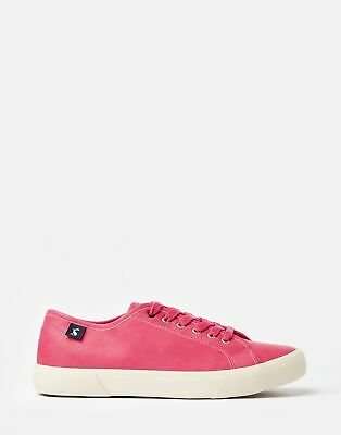 Joules Womens Coast Pump Faux Leather Trainer in PINK