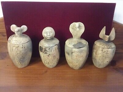 Rare Set 4 Egyptian Canopic Stone Jars Carved Hieroglyphics Antique