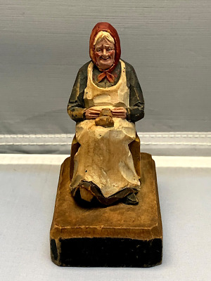 Hand Carved Wood Figure Old Woman Sitting Whittling
