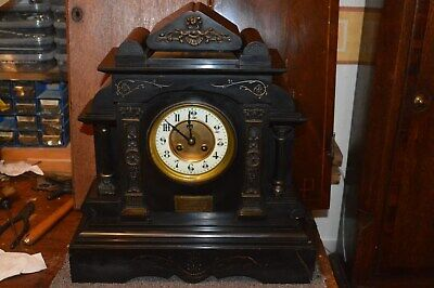 Victorian Black Slate Mantle Clock With French Movement