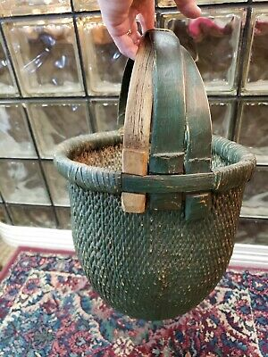 Antique Vintage Chinese Willow Woven - Triple Handle Rice Gathering Green Basket