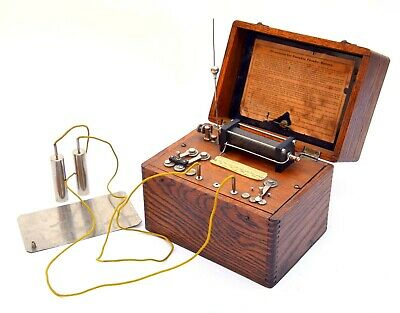 Antique Medical Quack Device: Faraday Battery Gizmo, Orig Dovetail Tiger Oak Box