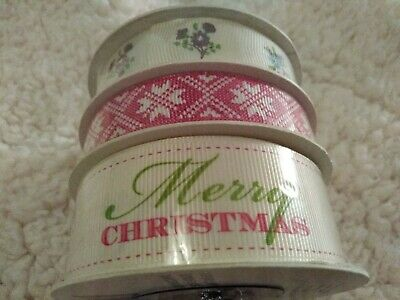 Merry Christmas  RIBBON  selection of 3 designs - crafting, brand new, 12 m