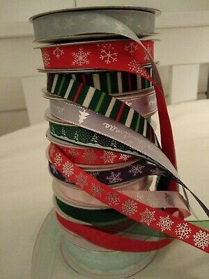 Christmas  RIBBON  selection of 11 different designs - crafting, brand new
