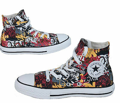 Kids Boy's Girl's CONVERSE All Star GRAFFITI HIGH TOP Trainers Boots SIZE UK 10