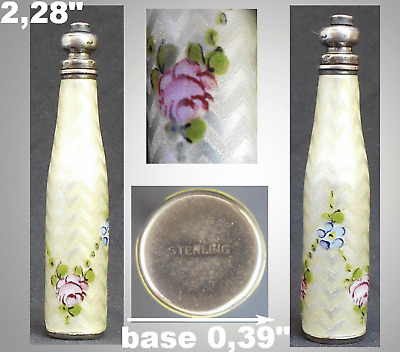 Antique Perfume Bottle Sterling Guilloche Enamel Pocket Purse Perfume Bottle