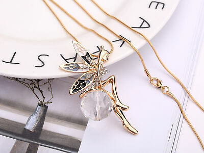 Fashion Girl Crystal Fairy Angel Wing Pendant Long Chain Sweater Necklace Gift
