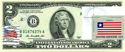 $2 Dollars 2013 Stamp Cancel Flag Of Un From Liberia Lucky Money Value $115