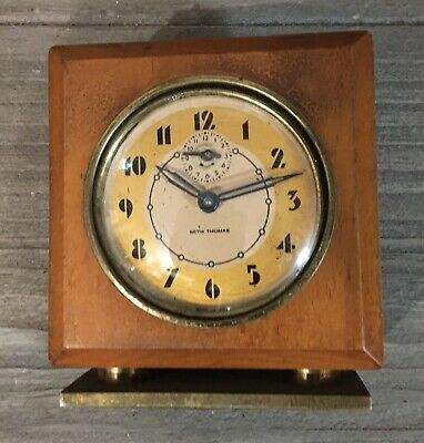 Vintage Wood & Brass SETH THOMAS Windup Desk/Travel ALARM CLOCK (Semi-Working!)