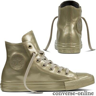 Women's CONVERSE All Star GOLD METALLIC RUBBER HIGH TOP Trainers Boots SIZE UK 4