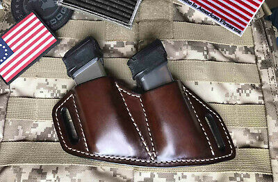 Fits Springfield Hellcat Leather Combat Double Magazine Holder, OWB. Made In USA