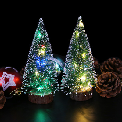 LED Mini Sisal Christmas Pine Trees Ornament Snow Frost Small Xmas Decor Gifts