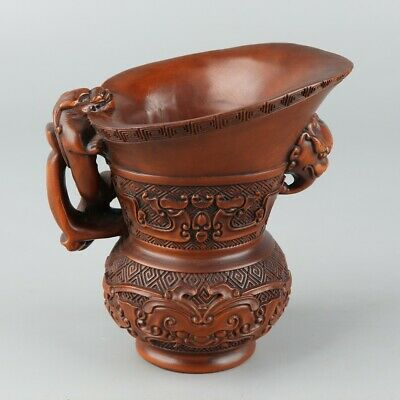 Chinese Exquisite Hand-carved beast Carving Boxwood cup