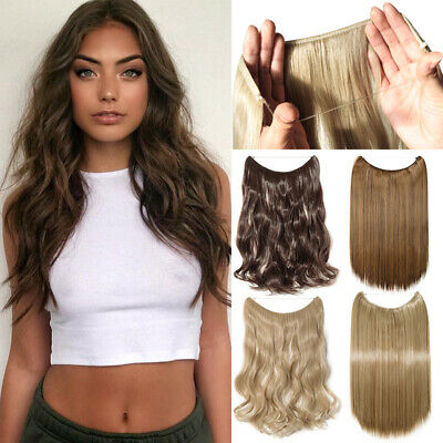Real Long Thick Secret Wire Hair Extensions Invisible Wire band Curly  As Human