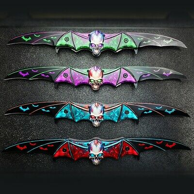 Zombie Skull Tactical Dual Blade Bat Spring Open Assisted Folding Pocket Knife
