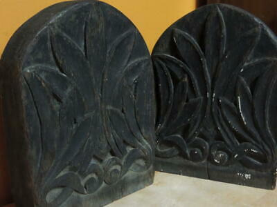 "Wood Wooden 7""x5"" Bookends hand carved Oak 19th Victorian or 20th Arts & Crafts"
