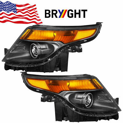 For 2011-2015 Ford Explorer Black Housing Projector Headlights Left+Right