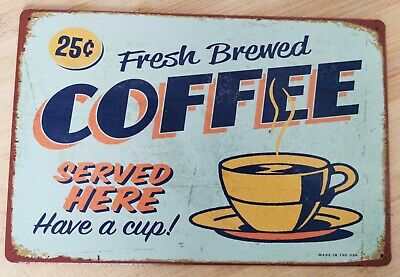 Cartel vintage fresh coffee decoration decorar rustic cafe kaffee cup