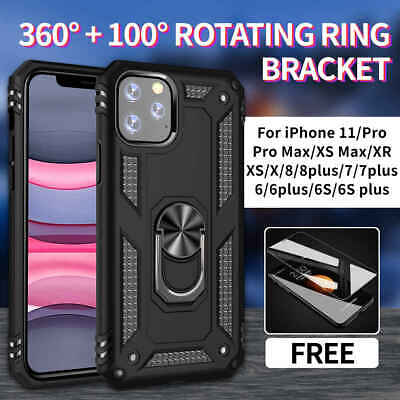 For iPhone 11 Pro MAX XS X XR 8 7 6 6S Plus Hybrid Case Cover Shockproof + Glass
