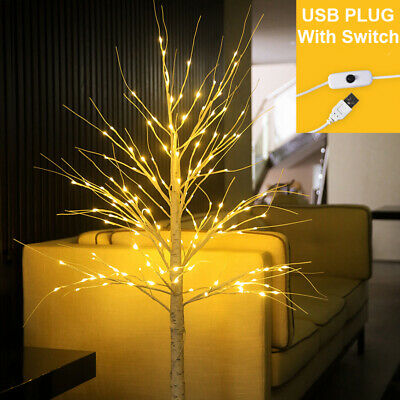 60 LEDs Birch Tree Light On/Off Switch Home Party Wedding Christmas Decor Lamp