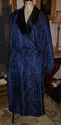 PERFECT Vintage/Antique Royal Blue Paisley Satin R.W. Forsyth Dressing Gown/Robe