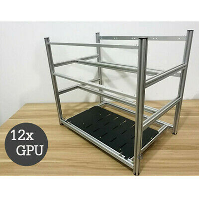 12 GPU Stackable Crypto Coin Aluminum Open Air Frame Mining Miner Rig Case AU