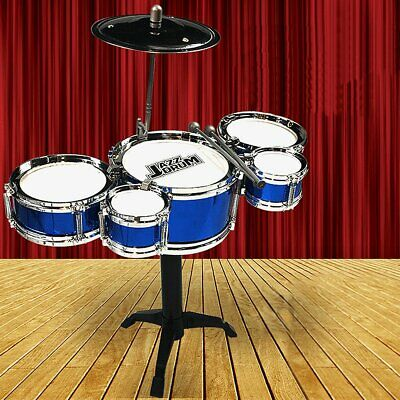 Childrens Kids Rock Drum Kit Cymbal Music Percussion Playset Stool Toy Gift