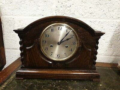 8 Day Striking Mantel Clock  Oak Case C1920 by HAC
