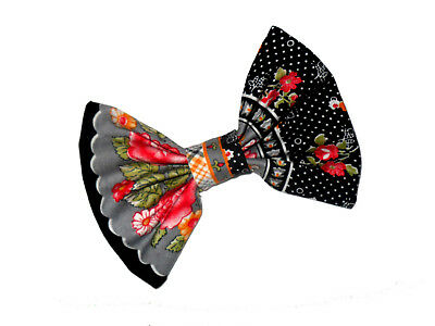 HEIDI Grey Red Black Yellow Green Vintage Flower Bow with Barrette Hair Clip
