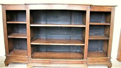 Antique Oak Breakfront Open Bookcase