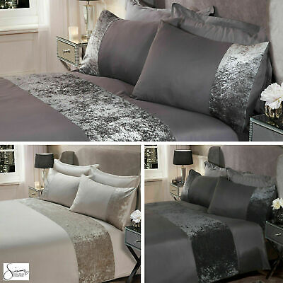 Duvet Cover Crushed Velvet Panel with Pillow Case Bedding NEW Set UK SELLER