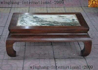 """27""""Chinese Rosewood wood natural marble Hand-carve pattern Tea table tables desk"""