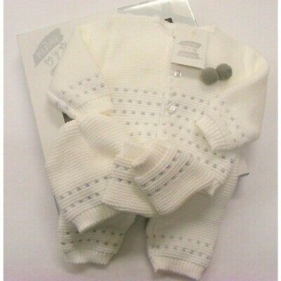 Baby Girls Boys Spanish Romany White Grey Pom Pom Knitted Layette Outfit Newborn