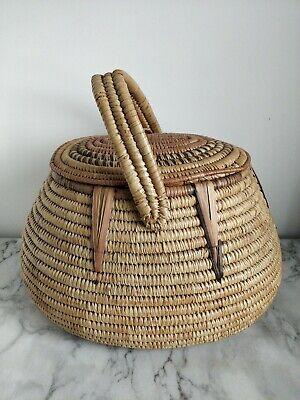 Large African Handmade Shopping Storage Basket with Handle & Lid