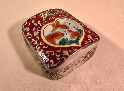 Late Qing Dynasty Chinese Cloisonné and Tibetan Silver Box