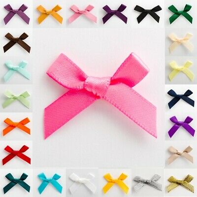 Satin Ribbon Bows Small 3cm Wide Pre-Tied ( 7mm ) Mini Crafts Wedding Oeko-Tex