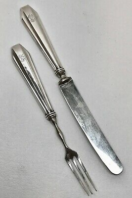 G.H. FRENCH & CO STERLING CHILD or CHEESE FORK & KNIFE SET ~ Mono Scrap/Use