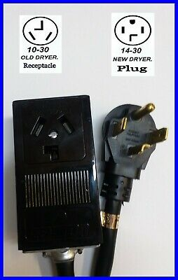 New MALE 14-30P 4-PIN PLUG DRYER to OLD FEMALE 10-30R 3-PRONG RECEPTACLE ADAPTER