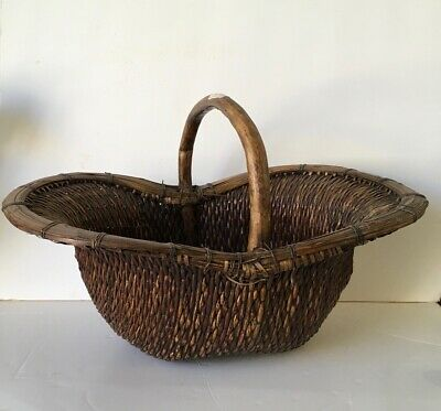 Chinese Vintage Woven Asian  Handle Basket