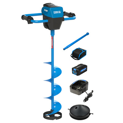 """ON SALE! (Was $599.99) Clam 120V 8"""" Ice Auger Kit w/ 2.0Ah Battery"""