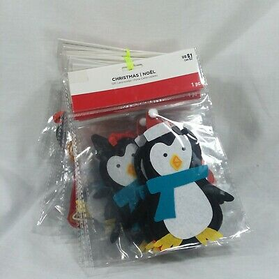 Gift Card Holder Ornament Penguin And Gingerbread Men On Red Ribbon Xmas Tree