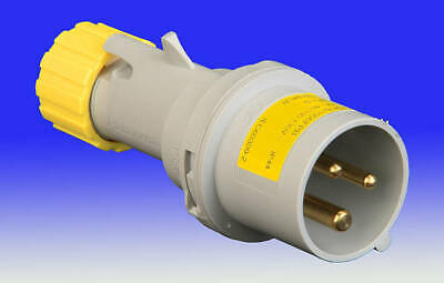 110v 16 Amp 3 pin Plug Yellow Rated IP44