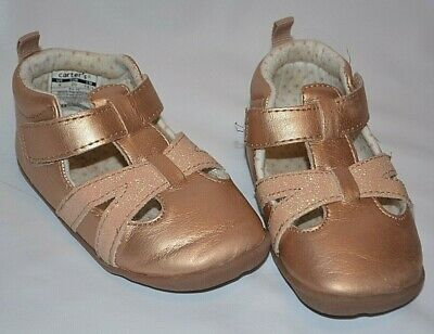 Carter's Gold Sparkly Pink Rose Gold Sandals Velcro Baby Girls Shoes Size 5 18M