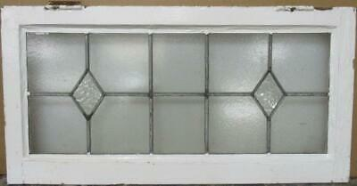 "OLD ENGLISH LEADED STAINED GLASS WINDOW TRANSOM Double Diamond 31.5"" x 16"""