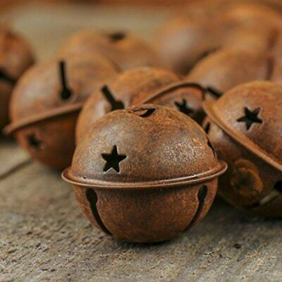 Christmas Rusty Old Bells for Home Decoration Iron Star Xmas Tree Decor 24pcs