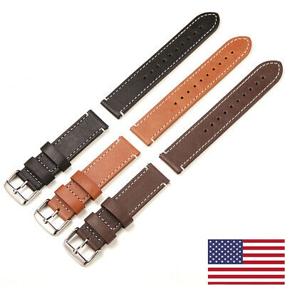 US Genuine Leather Watch Band 20 22mm Wrist Strap Belt Fossil Quick Release Pins