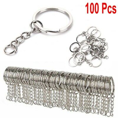 10pcs Stainless Steel Wire Loop Keychain Cable Key Ring Chain Outdoor GGNcS