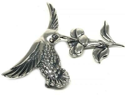Taxco Mexican 925 Sterling Silver Molina Hummingbird Flower Pendant Mexico