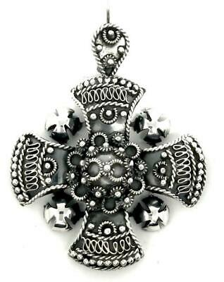 Taxco Mexican 925 Sterling Silver Deco Scroll Cross Pendant Mexico