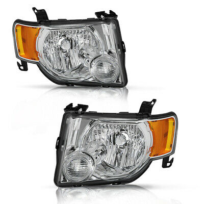 For 2008 2009 2010 2011 2012 Ford Escape SUV Headlights Chrome Lamps Left+Right